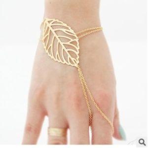 Jewelry - 2 pcs/set(gold/silver) fashion hollow Leaf Slave H